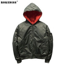 Thick men Bomber Jackets 2016 Winter Fashion Hooded Design Black Army Green man Thin Parka Ma1 baseball coats For couple TC502