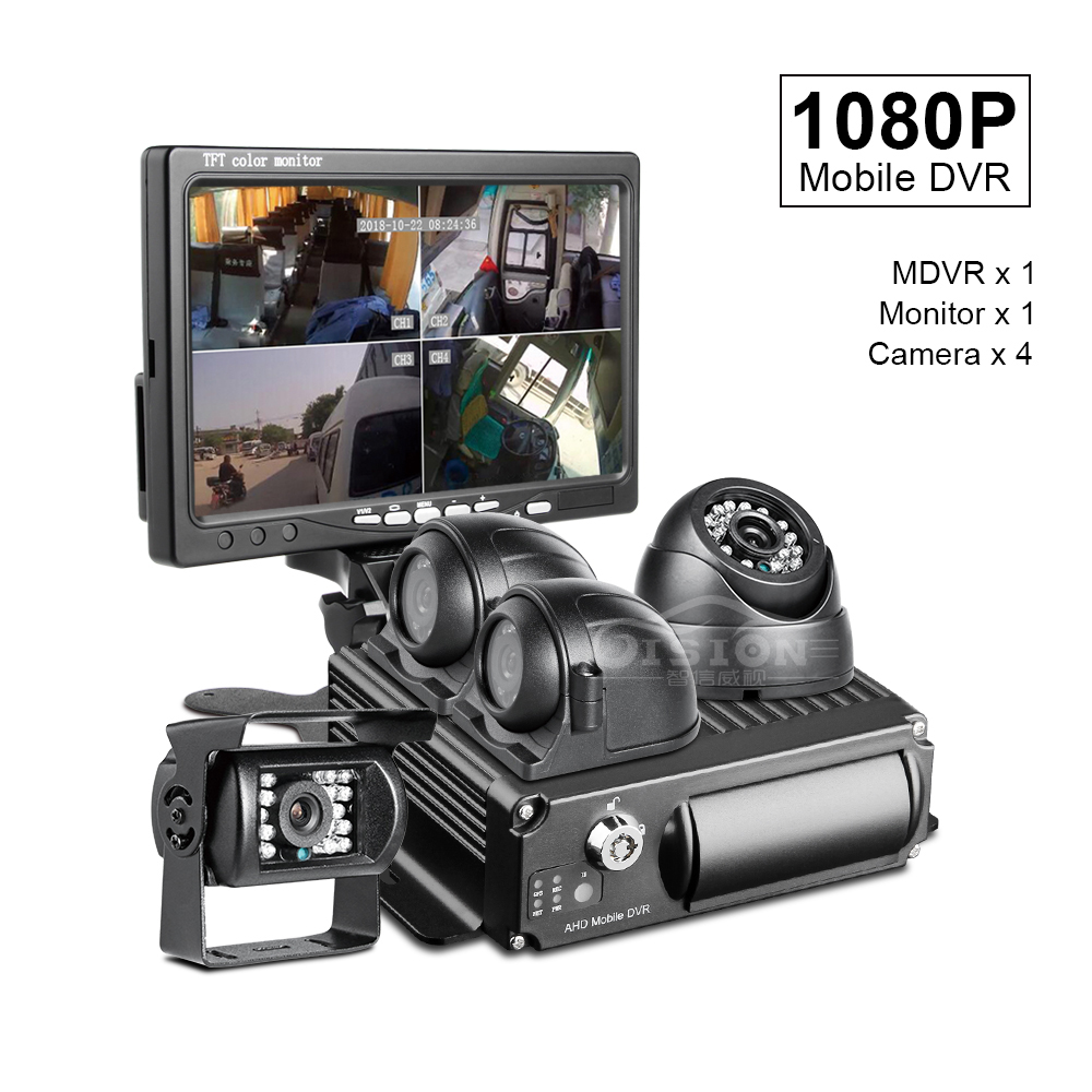 2019 New 4CH SD Mobile Dvr Car Recorder Playback +4x1.3MP AHD Front /Rear View Camera+7Inch Car Monitor For Truck /Taxi /Bus
