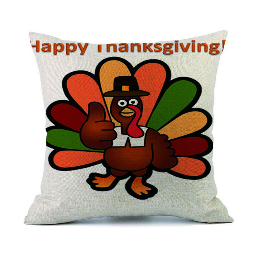 Happy Thanksgiving Day Turkey Pillow Cases Linen Sofa Cushion Cover Home  Decor Aug31 Professional Factory Price