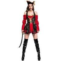 Mares Cruel Takerlama Adulto Feminino Capitão Buccaneer Cosplay Do Pirata das Mulheres Traje Sexy Halloween Fancy Dress