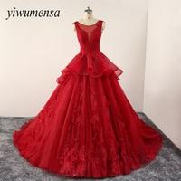 Yiwumensa Vintage Red Wedding Dresses Custom Lace Up Robe De Mariee Wedding Dress 2017 White Appliques