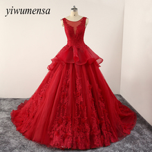 yiwumensa Vintage Red wedding dresses Custom Lace-up robe de mariee wedding dress 2017 White Appliques Bridal gowns casamento