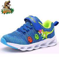 Dinoskulls Boys Glowing Sneakers Mesh 3D Dinosaur Kids Led Shoes Casual Light Up Children's Trainers 2019 Autumn Toddler Shoes