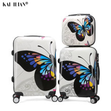 Women Travel suitcase on wheels Butterfly hard rolling luggage set with cosmetic bag for girls Women cabin trolley suitcase(China)