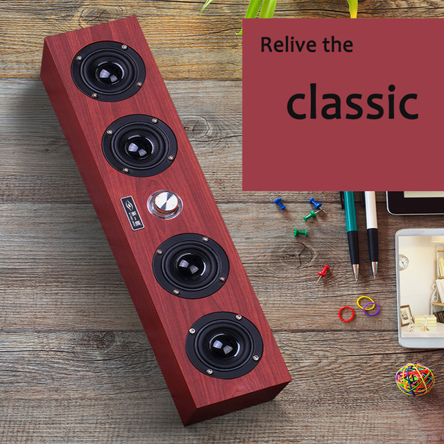Wooden Vintage Wireless Bluetooth Speaker Portable HiFi Soundbar Speakers Support Audio Output TF Card For IPhone