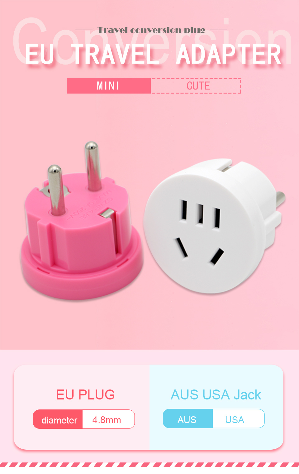 1PC US AU To EU Plug USA AUS To Euro Europe Travel Wall AC Power Plug Wall Charger Outlet Adapter Converter 2 Round Pin Socket (1)