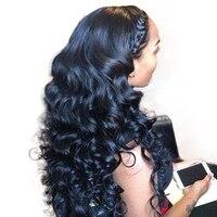 250 плотность Синтетические волосы на кружеве человеческих волос парики для женский, черный предварительно сорвал свободная волна Синтетич