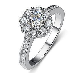 New arrival Super shiny ice flower CZ zircon 925 sterling silver ladies`finger rings female wedding ring jewelry gift no fade