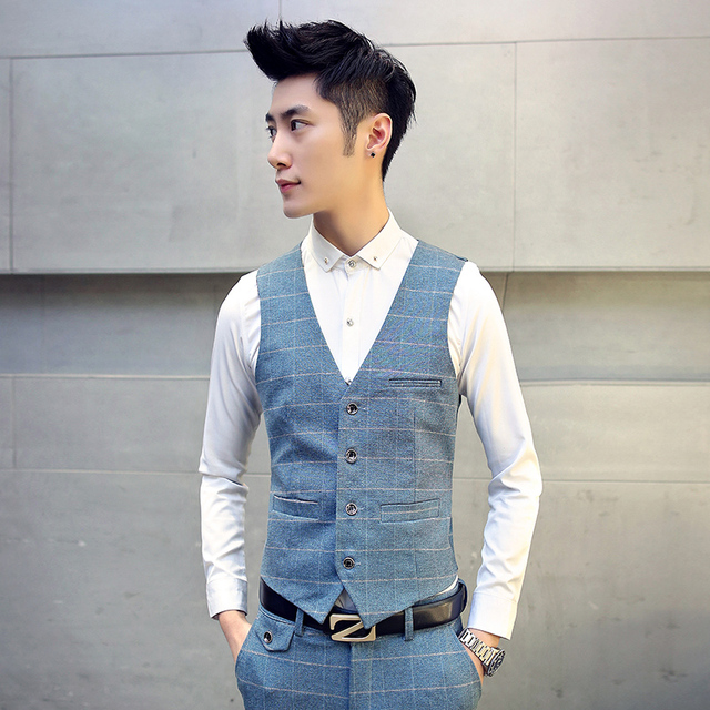 High quality Mens suit vest 2017 spring plaid new casual vest Slim fit trend gentleman thick business party dress plus size TZ31