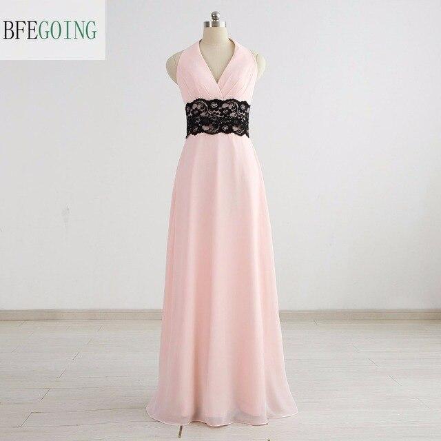 b8e07f975 Rosa gasa negro Encaje v-cuello formal vestido de fiesta palabra de  longitud sin mangas