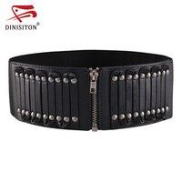 DINISITON Women Vintage Belt Waistband Stretch Straps Thin Skinny Elastic PU Leather Waist Belt Female Accessories