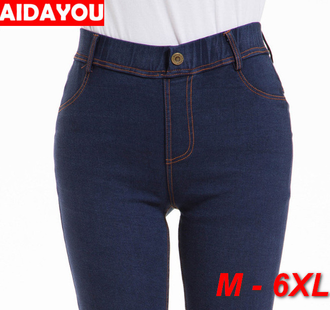 Womens Jeans 6XL Plus Size Vintage Pencil Pants Denim Pants Super Elastic Butt Lift  Push UP Jean Ouc469b