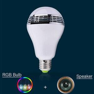 Image 3 - Smart RGB E27 Birne Bluetooth 4,0 Audio Lautsprecher Lampe Dimmbare LED Drahtlose Musik Lampe Licht Farbwechsel über WiFi App control