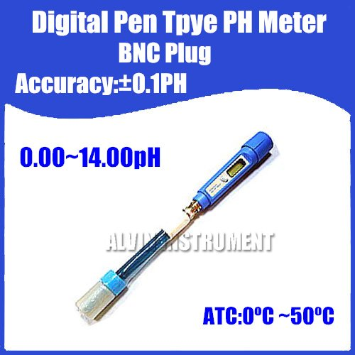 Free Shipping Digital Pen Type Pocket Digital PH Meter Tester Acidimeter  BNC Plug  Accuracy:0.1pH Resolution:0.01pH ATC brand new professional digital lux meter digital light meter lx1010b 100000 lux original retail package free shipping