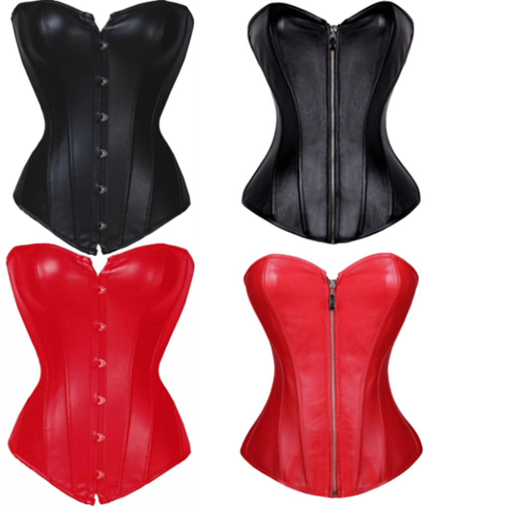 Black/Red Faux Leather Corset Sexy Clubwear Bustier Hot Lingerie Zipper Plus Size Waist Cincher Top S-6XL