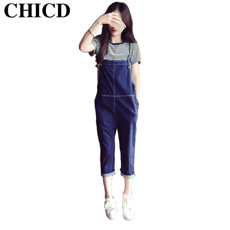 CHICD 2017 Spring Fashion Casual Women Denim Jeans Slim Cute Jeans Cargo Pants Female Pockets Calf-Length Trousers XP363
