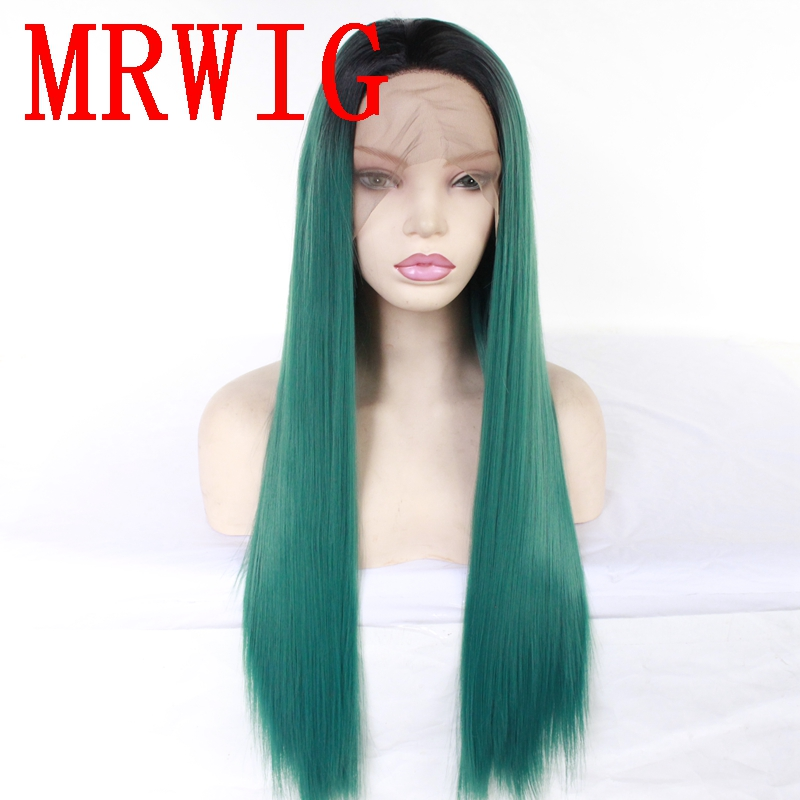 MRWIG  Black Ombre Green Short Dark Roots Long Straight Synthetic Glueless Front Hair Wig African Americans