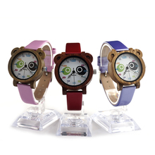 BOBO BIRD I13 Children's Cute Bear Design Wood Watches with PU Leather Band Kids Women Quartz Watch
