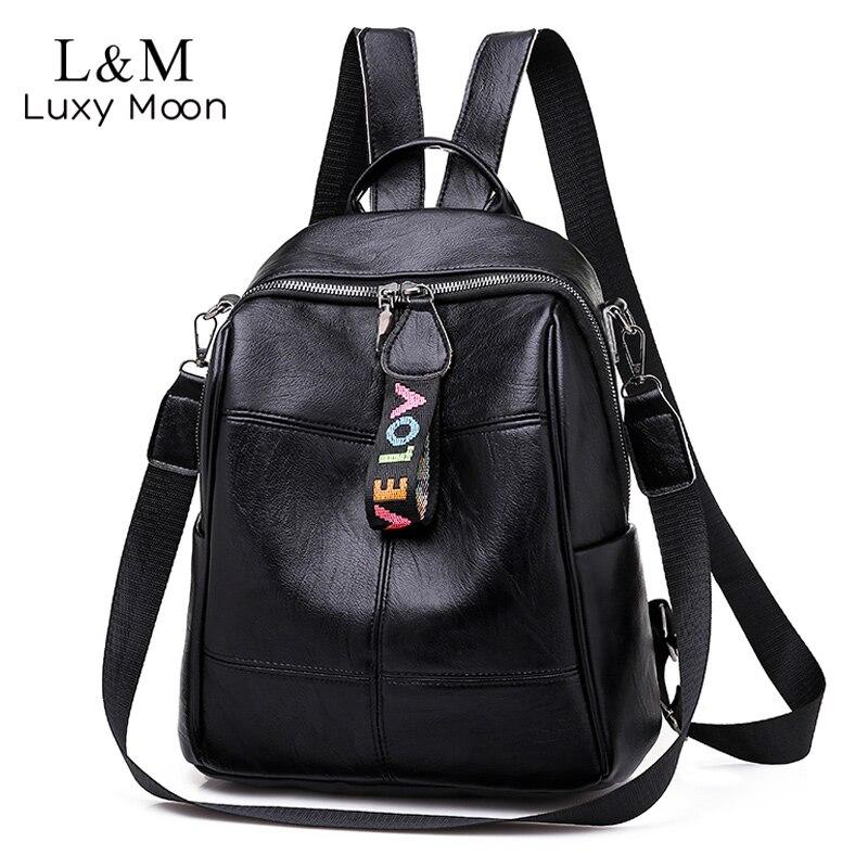 Fashion Soft Leather Backpack For Women Multipurpose Large Backpacks Male Girls School Bags Travel Rucksack Mochila Black XA277H