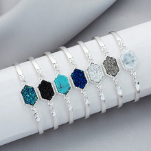 HOMOD Trendy Hexagon Silver/Gold Color Natural stone Bracelet Big Druzy Stone Bezel Setting Large Tone Women Jewelry