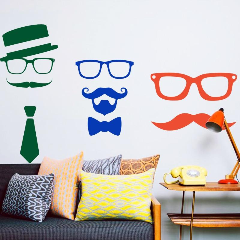 Umělecký design levné domácí dekorace vinyl vtipný knír nástěnné nálepky vodotěsné PVC dům výzdoba kreslený vousy obtisk v baru