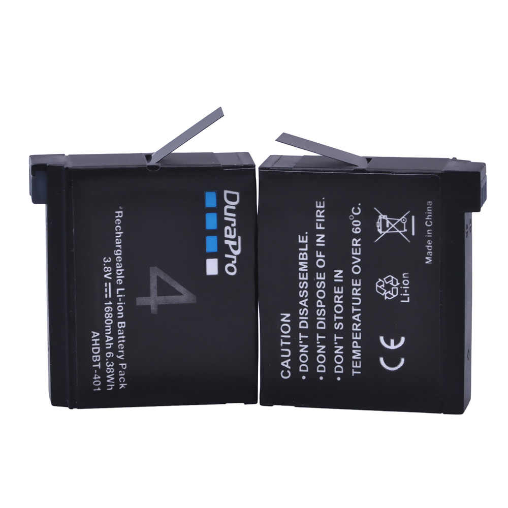 4 pc 1680 mAH AHDBT-401 AHDBT401 AHDBT 401 batterie de caméra numérique + LED chargeur 3 ports pour AHDBT401 GoPro Hero 4 HD caméra bateria