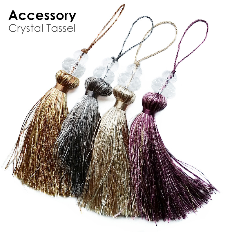 4 Colors Crystal Key Tassel Hanging Ears Small Table Flag Cushion Cover Tassels Bag Door Decoration 19.5cm Length Sell By Pairs