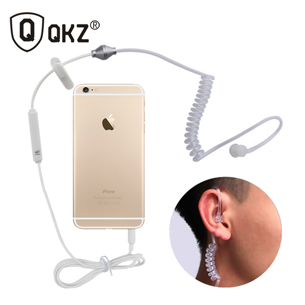 QKZ A1 Ear Ear Headphones Stereo Mono 3,5 mm Anti Radiation Air Fjäderledning Earhook Headphone För iPhone Samsung All Phone