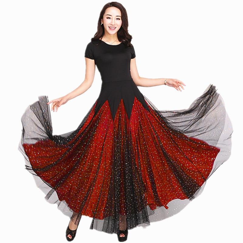 Ballroom Dance Dresses Lady s Short Sleeve Stage Waltz Dancing Skirt Women Cheap Ballroom Competition Dance