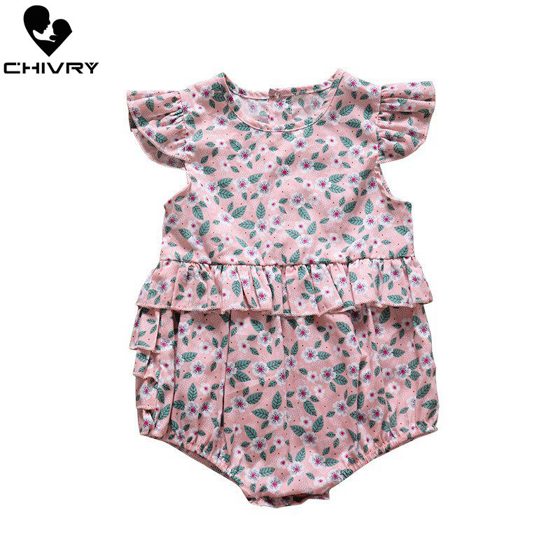 Chivry Baby Girls Bodysuit Summer Sleeveless Floral Print Cute Jumpsuit Newborn Playsuit Infant Clothes