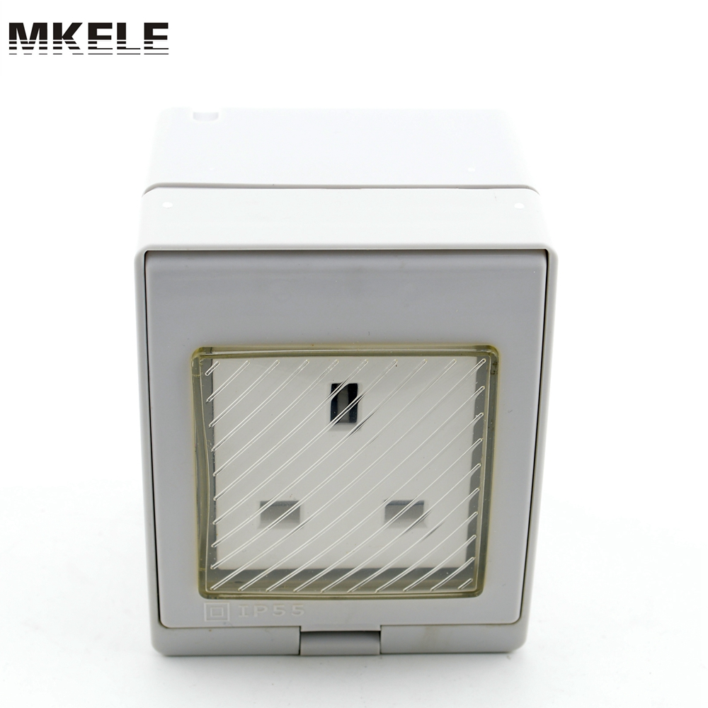 Low Price MK-SBS Widely Use Fashion Design British Best Sale Waterproof Plug And With 3 Pin,outdoor Socket Switch Box China