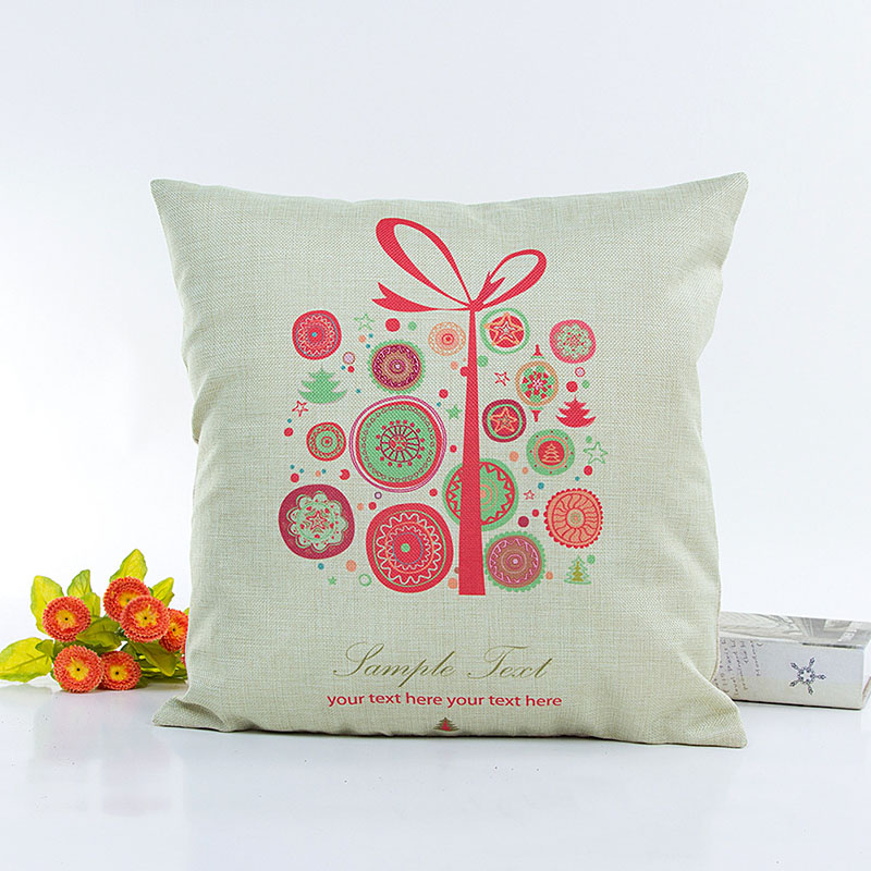 Square Cushion Cover Floral Pillowcase Pillow Cover Christmas Festival Sofa Car Seat Home Decor F