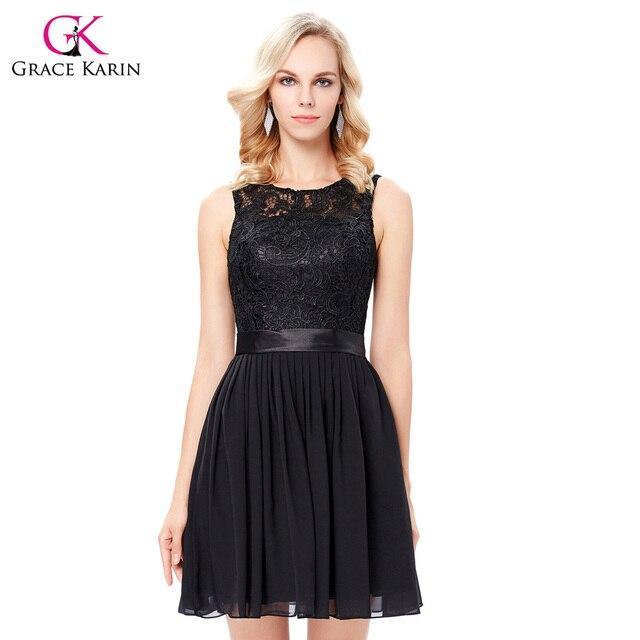 Gracia Karin short negro Vestidos de cóctel 2018 verano estilo Encaje fiesta  formal vestidos de coctel 0372424f64f9