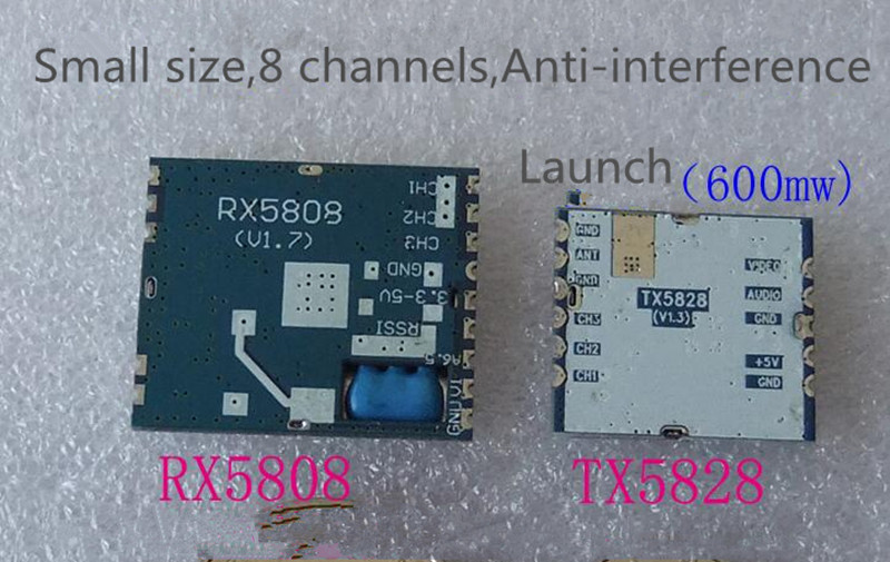 TX5828 RX5808 Lauch and Receiver Module 5.8G Small Size 600mW Wireless Audio Video Transmission FPV boscam fpv 5 8g wireless audio video receiver receiving module rx5808