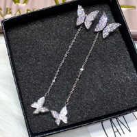 XIYANIKE 925 Sterling Silber Schmetterling Kristall Ohrringe Für Frauen Dazzling Micro CZ Zirkon Ohrring Weihnachten Geschenk Bijoux Schmuck