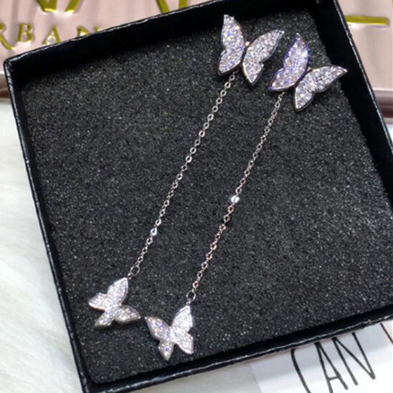 XIYANIKE 925 Sterling Silver Butterfly Crystal Earrings For Women Dazzling Micro CZ Zircon Earring Christmas Gift Bijoux Schmuck