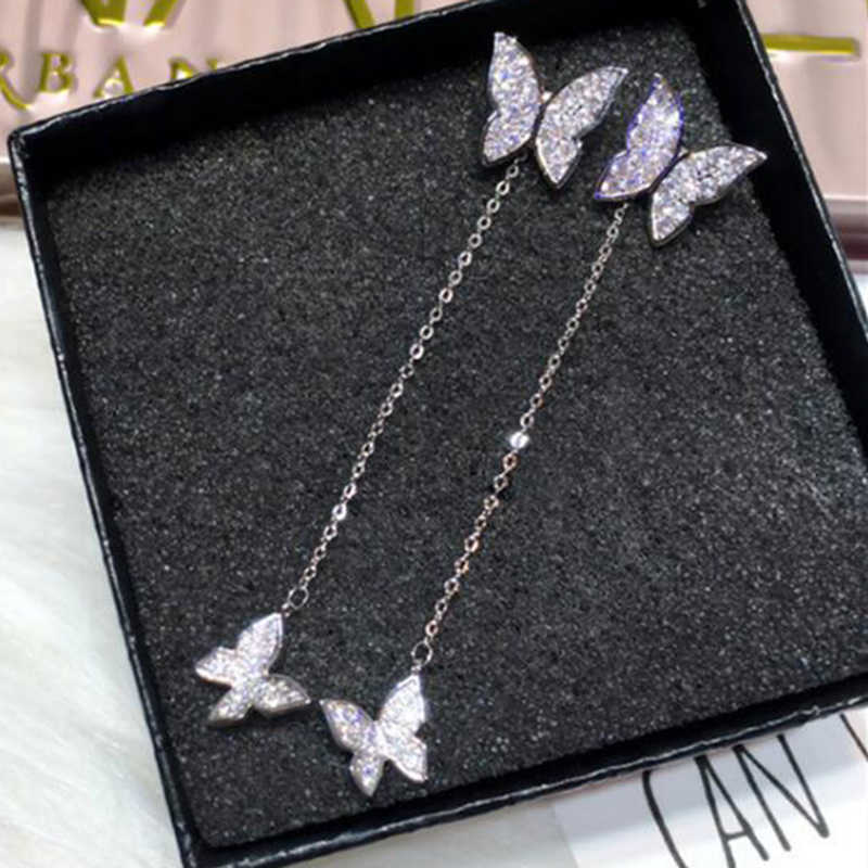 Xiyanike 925 Sterling Silver Kupu-kupu Kristal Anting-Anting untuk Wanita Mempesona Micro CZ Zircon Anting-Anting Hadiah Natal Bijoux Orang Bodoh