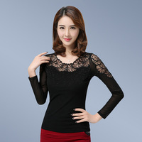 New Arrivals 2017 Spring Women blouses Fashion Elegant Black mesh tops Diamonds Sexy lace tops plus size women clothing
