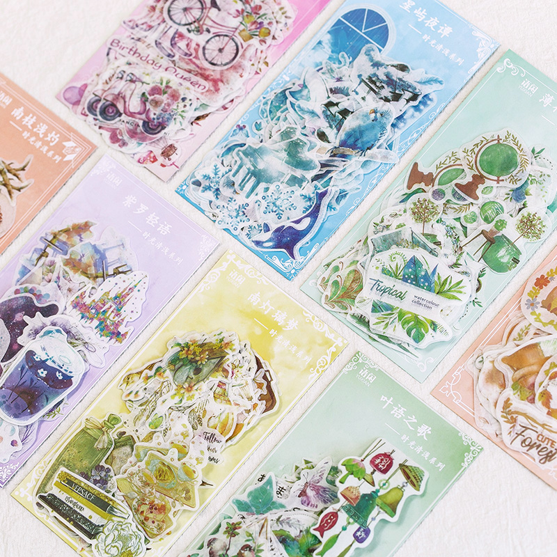 60pcs/pack Green Plants Dolphin Adhesive Diy Sticker Stick Label Notebook Album Diary Decor Student Stationery