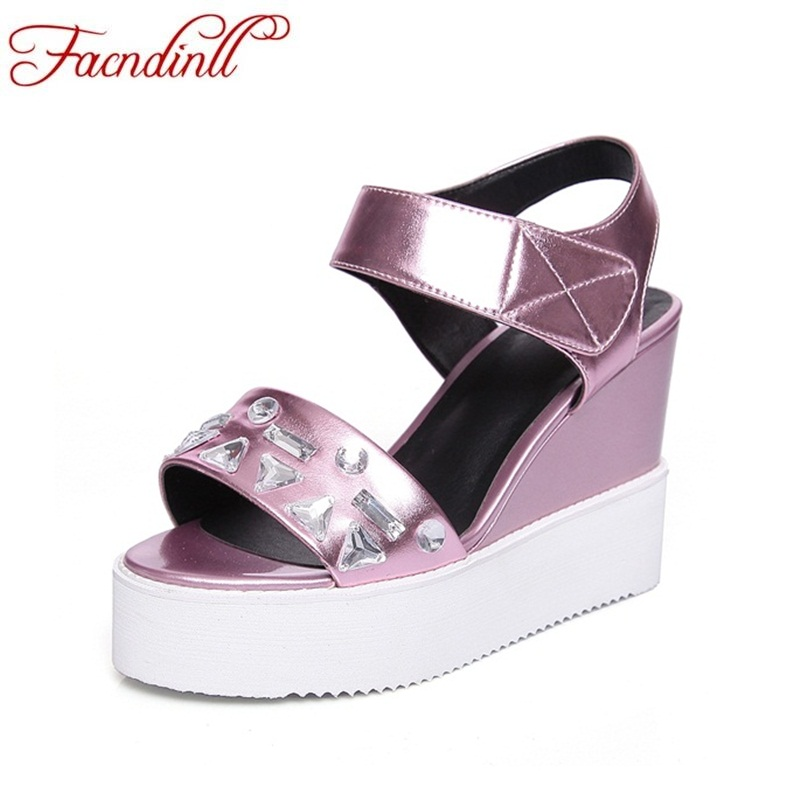 FACNDINLL shoes woman platform sandals 2018 summer fashion super high heels woman string bead wedges shoes ladies casual sandals facndinll new women summer sandals 2018 ladies summer wedges high heel fashion casual leather sandals platform date party shoes