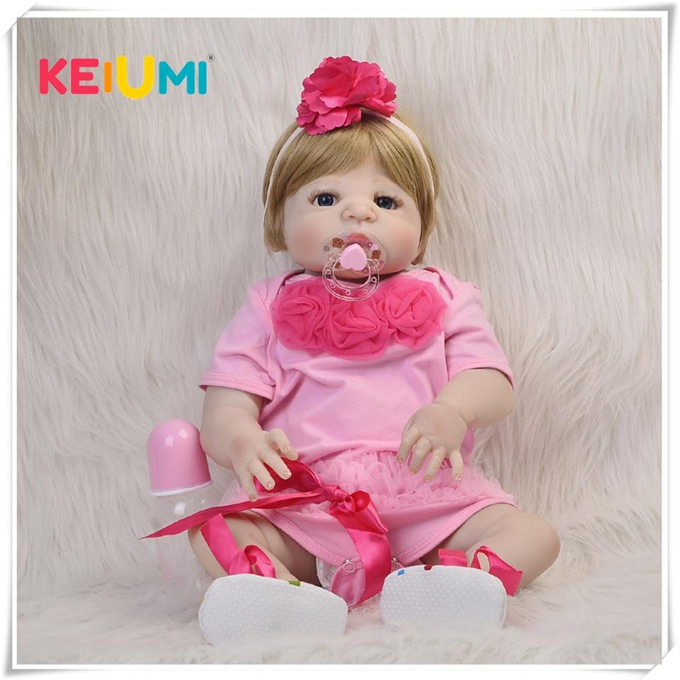 23 pouces or cheveux bébé Reborn De Silicone 57 Cm mode Reborn bébé poupée réaliste nouveau-né poupée jouet pour fille enfants cadeau peut se baigner