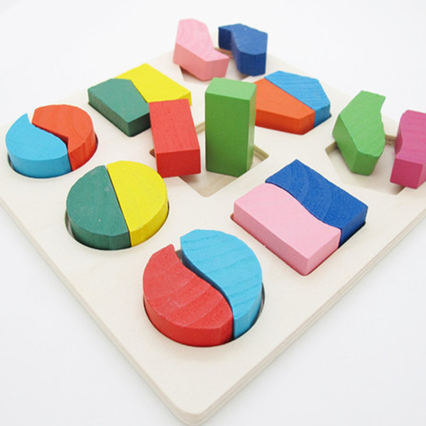 Baby infant Geometry Block Wooden Puzzle Early Learning Kids Educational Toy NEW