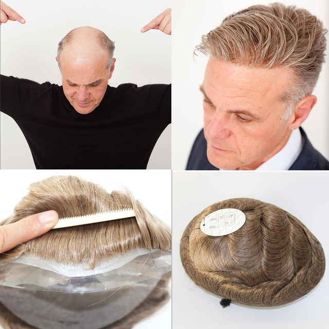 f99d54d4b SimBeauty Thin Skin Mens Toupee Full Pu Toupee For Men Naural Black Human  Hair Hairpiece Replacement System Men Hair None Lace