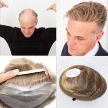 SimBeauty ince deri erkek peruk tam Pu erkekler için peruk doğal siyah insan saçı postiş değiştirme sistemi erkekler saç yok dantel