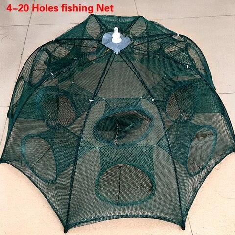 dobrado portatil 4 6 8 10 12 16 20 furos camarao armadilha de pesca automatico rede