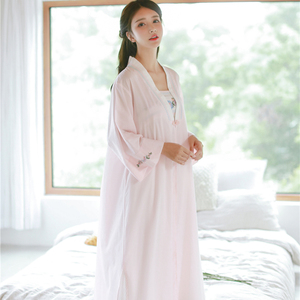 Image 4 - ローブナイトガウンガール女性パジャマ刺繍ロングローブ中国のレトロなスタイルローブセット