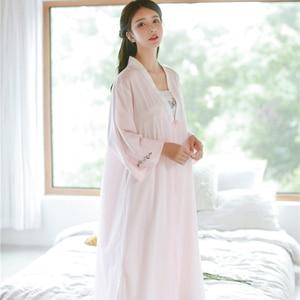 Image 4 - Robe Nightgown Girl Women Sleepwear Embroidery Long Robe Chinese retro style Robe Set