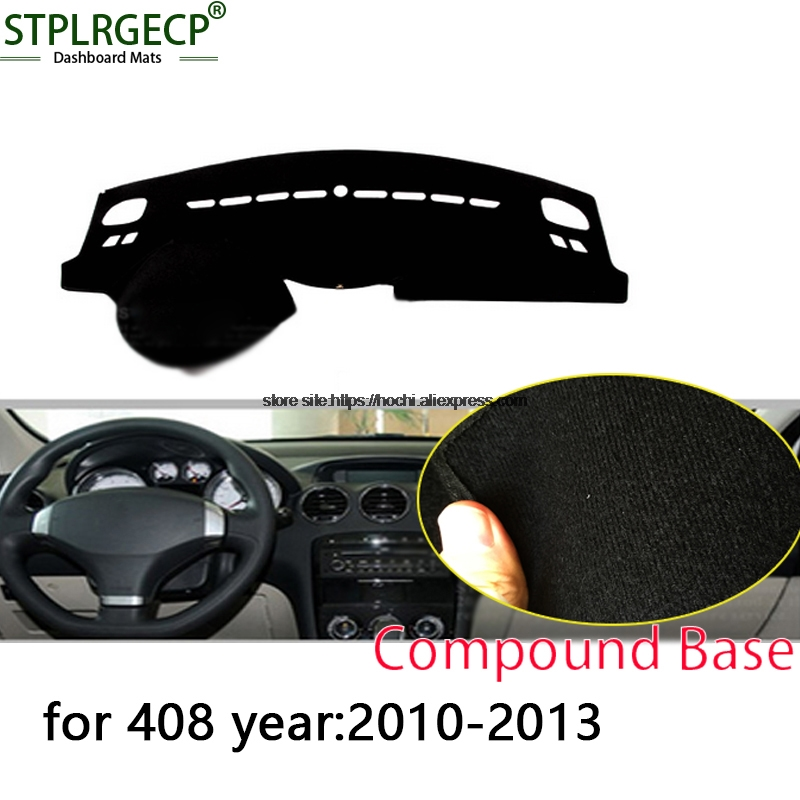 STPLRGECP double layer Black Dash Mat For Peugeot 408 2010-2016 Dashmat Black Carpet Car Dashboard Automotive interior Mats 3d trunk mat for peugeot 508 waterproof car protector carpet auto floor mats keep clean interior accessories