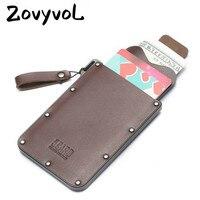 ZOVYVOL 2019 本革財布スマートクレジットカードホルダー黒コーヒー男性高品質の高級カード財布ドロップ出荷