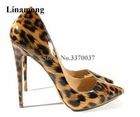 Linamong Classical Style Women Pointed Toe Leopard Patent Leather Stiletto Heel Pumps Sexy 12cm Slip up High Heels Club Shoes